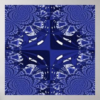 Blue Geometric Design Print