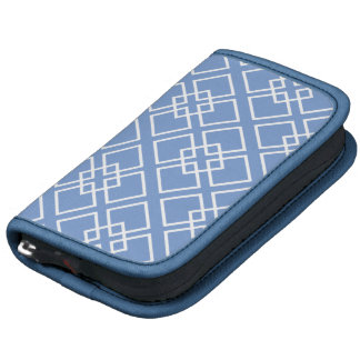 Blue Geometric Diamond Pattern Folio Planner