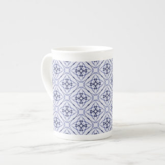 Blue Geometric Diamond Pattern Tea Cup