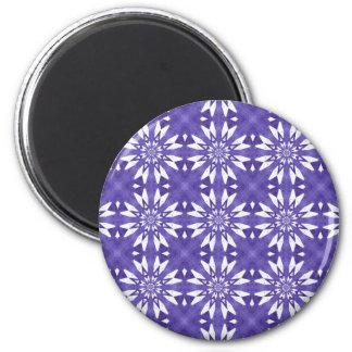 Blue geometric flowers 6 cm round magnet