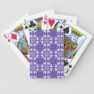 Blue geometric flowers bicycle playing cards