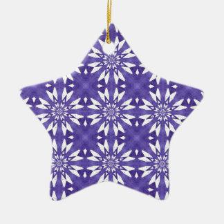 Blue geometric flowers christmas ornament