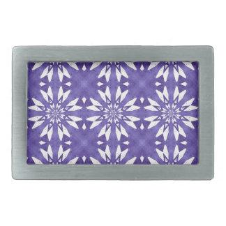 Blue geometric flowers rectangular belt buckles
