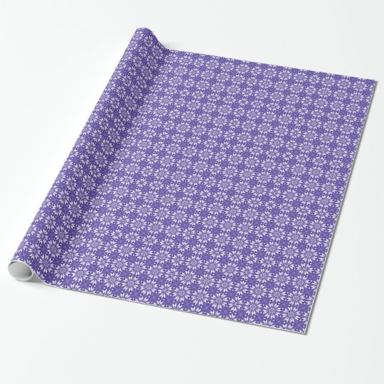Blue geometric flowers wrapping paper