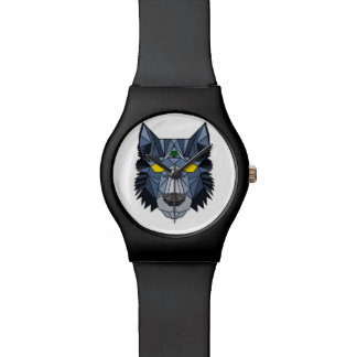 Blue Geometric Hipster Wolf Watch
