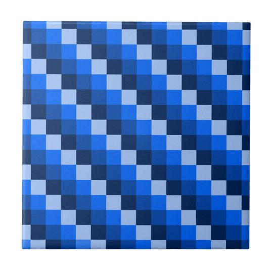 Blue Geometric Mosaic Pattern Tile