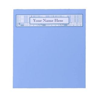 Blue Geometric Notepad with Your Name