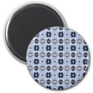 Blue Geometric Pattern 6 Cm Round Magnet