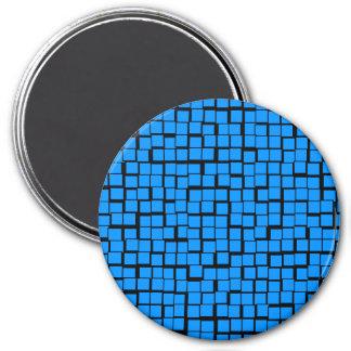 Blue geometric pattern 7.5 cm round magnet