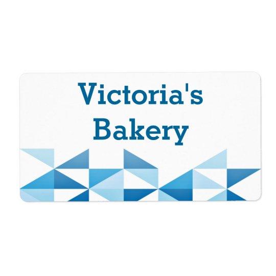 Blue Geometric Pattern Personalised Name Baking