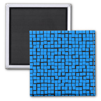 Blue geometric pattern square magnet