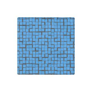 Blue geometric pattern stone magnet