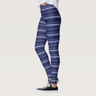 Blue Geometric Stripe Leggings