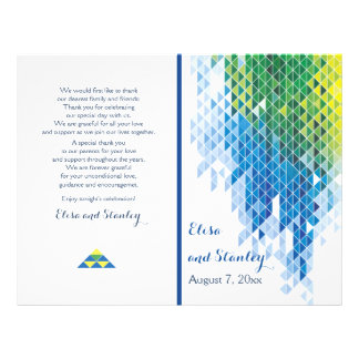 "Blue geometric triangles modern wedding program 8.5"" x 11"" flyer"
