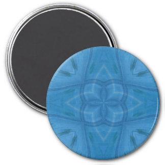 Blue geometric wood pattern 7.5 cm round magnet