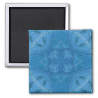 Blue geometric wood pattern square magnet