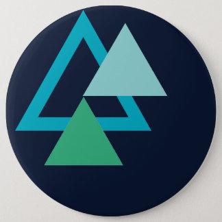 Blue geometrical 6 cm round badge