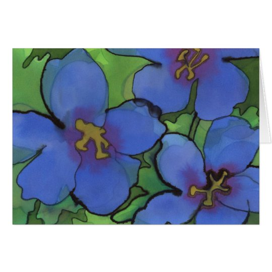 Blue Geraniums Greetings Card
