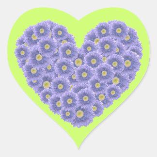 Blue Gerber Daisy Heart Stickers
