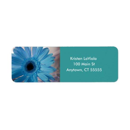 Blue Gerber Daisy Label