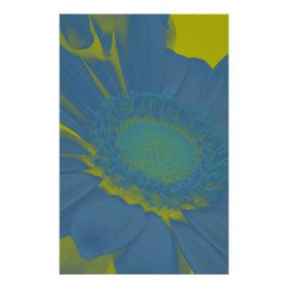 Blue Gerbera Daisy Flower on Yellow Background Stationery