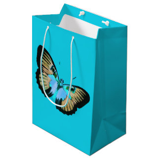 Blue gift bag with vintage Butterflies