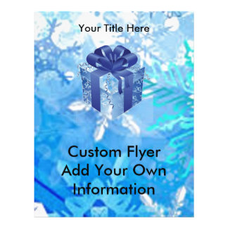 Blue Gift Box with Blue Ribbon Full Color Flyer