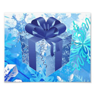 Blue Gift Box with Blue Ribbon Photo Print