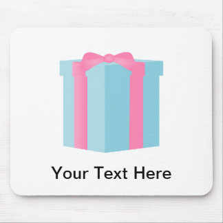 Blue Giftbox with Pink Ribbon Bow Mouse Pads