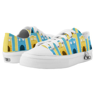 Blue Ginger Cat pattern Zipz Low Top Shoes