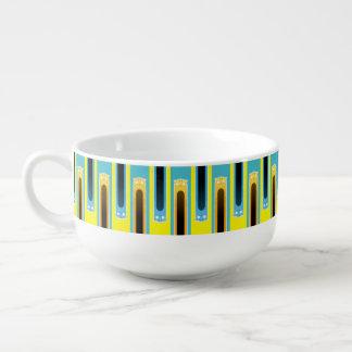 Blue Ginger Cat striped soup mug