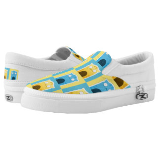 Blue Ginger Cat Zipz Slip On Shoes