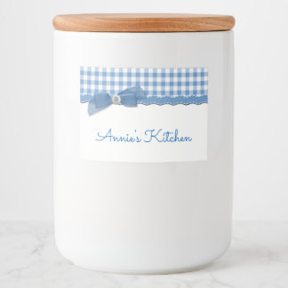 Blue Gingham and Bow Food Label