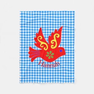 Blue Gingham and Red Bird Fleece Blanket