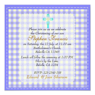 Blue gingham Baby Boy Christening Baptism Card