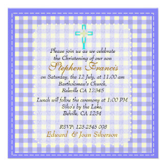 Blue gingham Baby Boy Christening Baptism Personalised Announcements