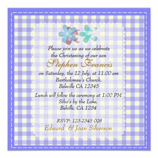 Blue gingham Baby Boy Christening Baptism Personalised Announcement