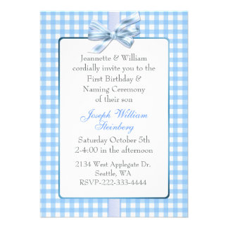 Blue Gingham Baby s Birthday and Naming Ceremony Announcement