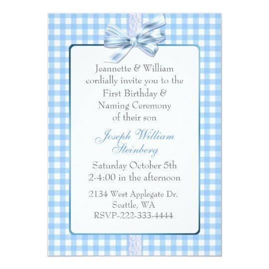 Blue gingham babys birthday and naming ceremony card zazzle blue gingham babys birthday and naming ceremony card stopboris Choice Image