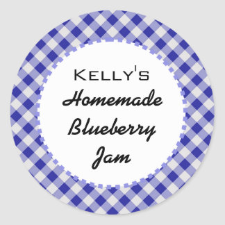 Blue gingham blueberry jam label