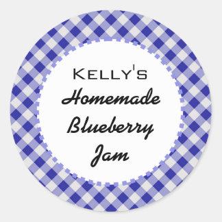 Blue gingham blueberry jam label round sticker