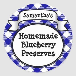 Blue Gingham Blueberry Jelly Jam Jar/Lid Label