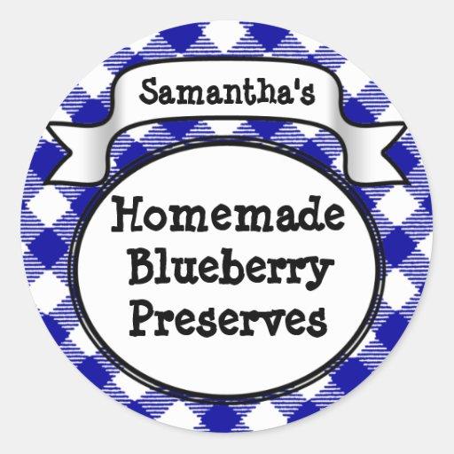 Blue Gingham Blueberry Jelly Jam Jar/Lid Label Round Sticker