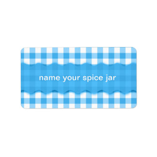 Blue Gingham Checkered Design Kitchen Label