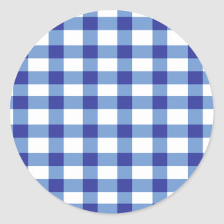 Blue Gingham Classic Round Sticker