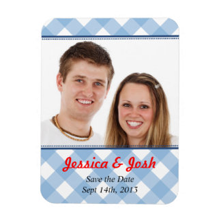 Blue gingham country rustic wedding save the date rectangular photo magnet