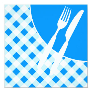 Blue Gingham & Cutlery 13 Cm X 13 Cm Square Invitation Card