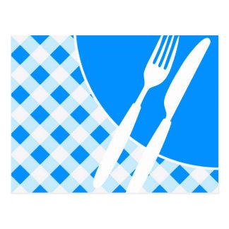 Blue Gingham & Cutlery Postcard