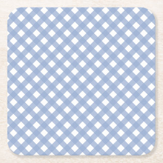 Blue Gingham Design Pattern Square Paper Coaster