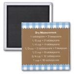 Blue gingham dry measure chart kitchen helper refrigerator magnet